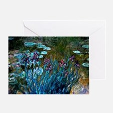 Monet - Irises and Water Lilies Greeting Card