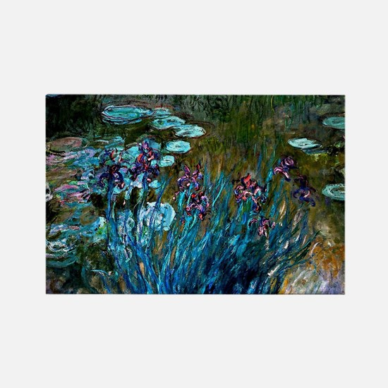 Monet - Irises and Water Lilies Rectangle Magnet