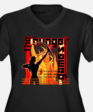 Personalize Girl on Fire Women's Plus Size V-Neck