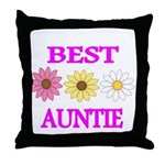 BEST AUNTIE WITH FLOWERS Throw Pillow