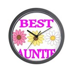 BEST AUNTIE WITH FLOWERS Wall Clock