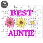BEST AUNTIE WITH FLOWERS Puzzle