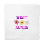 BEST AUNTIE WITH FLOWERS Queen Duvet