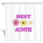 BEST AUNTIE WITH FLOWERS Shower Curtain