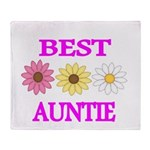 BEST AUNTIE WITH FLOWERS Throw Blanket