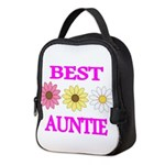 BEST AUNTIE WITH FLOWERS Neoprene Lunch Bag