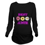 BEST AUNTIE WITH FLOWERS Long Sleeve Maternity T-S