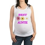 BEST AUNTIE WITH FLOWERS Maternity Tank Top
