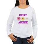 BEST AUNTIE WITH FLOWERS Long Sleeve T-Shirt