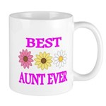 BEST AUNT EVER WITH FLOWERS 3 Mugs