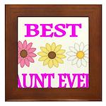 BEST AUNT EVER WITH FLOWERS 3 Framed Tile