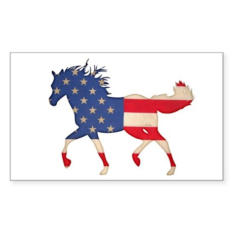 American Flag Horse Sticker