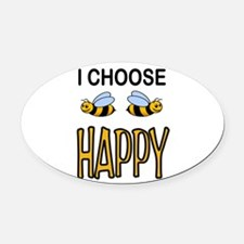BE HAPPY Oval Car Magnet