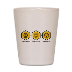 Time Travel + Genealogy = Happiness Shot Glass