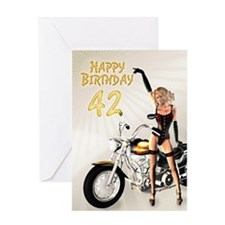 42nd Birthday with a motorbike girl Greeting Cards