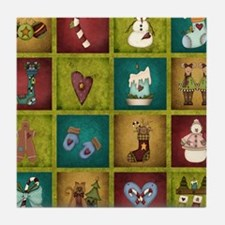CHRISTMAS CRAZY QUILT Tile Coaster