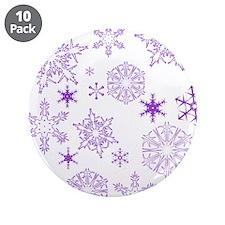 "Purple Snowflakes 3.5"" Button (10 pack)"
