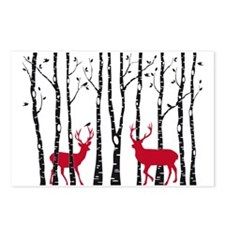 Christmas deers in birch tree forest Postcards (Pa