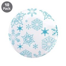 """Blue Snowflakes 3.5"""" Button (10 pack)"""