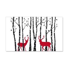 Christmas deers in birch tree forest Wall Decal