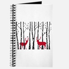Christmas deers in birch tree forest Journal