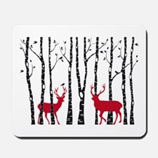 Christmas deers in birch tree forest Mousepad
