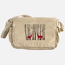 Christmas deers in birch tree forest Messenger Bag