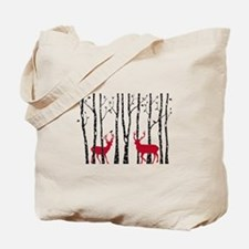 Christmas deers in birch tree forest Tote Bag