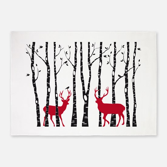 Christmas deers in birch tree forest 5'x7'Area Rug