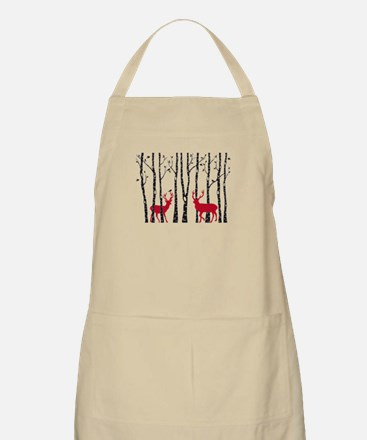 Christmas deers in birch tree forest Apron
