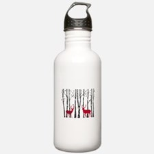 Christmas deers in birch tree forest Water Bottle