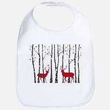 Christmas deers in birch tree forest Bib