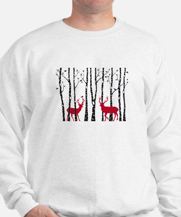 Christmas deers in birch tree forest Sweater