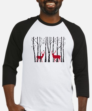 Christmas deers in birch tree forest Baseball Jers