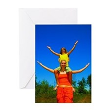 Girls with arms open Greeting Cards