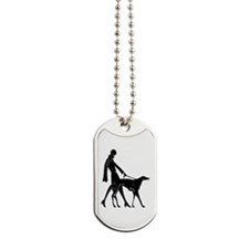 Art Flapper Walking Borzoi Dog Tags
