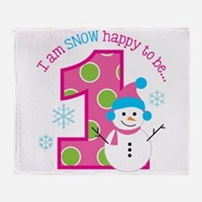 Snowman Girl 1st Birthday Throw Blanket