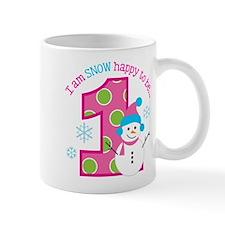 Snowman Girl 1st Birthday Mugs