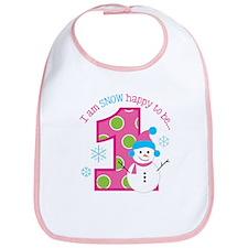 Snowman Girl 1st Birthday Bib