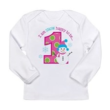 Snowman Girl 1st Birthday Long Sleeve T-Shirt