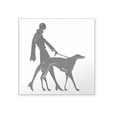 Art Deco Flapper Walking Borzoi Square Sticker 3""