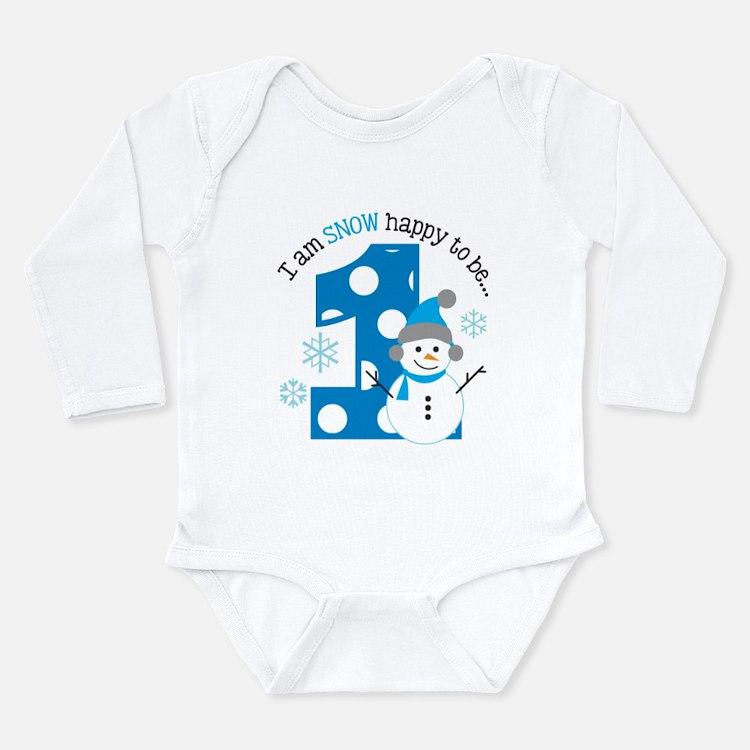 Snowman 1st Birthday Long Sleeve Infant Bodysuit