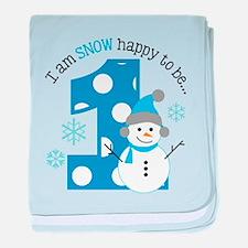 Snowman 1st Birthday baby blanket