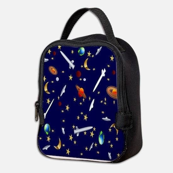 Space Flight Pattern Neoprene Lunch Bag