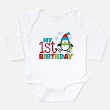 Penguin 1st Birthday Long Sleeve Infant Bodysuit
