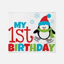 Penguin 1st Birthday Throw Blanket