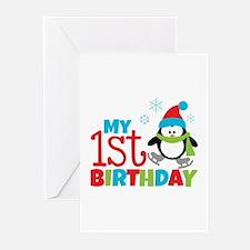 Penguin 1st Birthday Greeting Cards (Pk of 20)