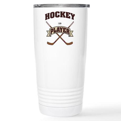Hockey Player Stainless Steel Travel Mug