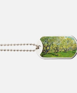 Orchard in Blossom, post impressionism fi Dog Tags