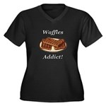 Waffles Addict Women's Plus Size V-Neck Dark T-Shi